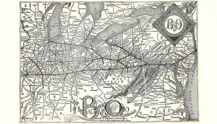 1891 map of the Baltimore & Ohio railroad