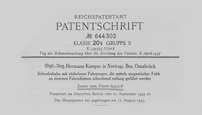 Hermann Kemper magnetic levitation