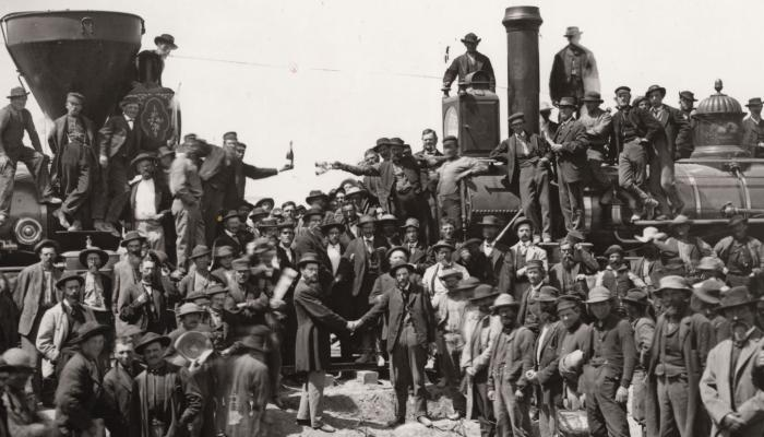 Central Pacific Railroad Company of California President Leland Stanford taps the Golden Spike
